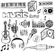 Set of music hand-drawn icons - stock photo