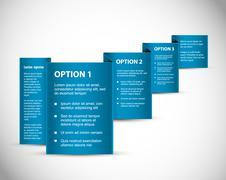 Set of Blue Vector Sample option paper origami Stock Illustration