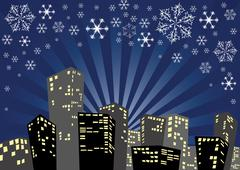 Stock Illustration of Silhouette of the christmas city