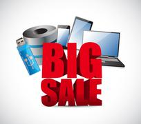 Big sale in electronics business sign - stock illustration