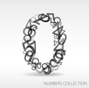 Number zero made from various numbers - stock illustration
