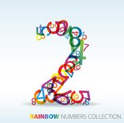 Number two made from colorful numbers - stock illustration
