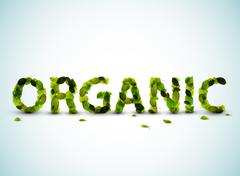 Organic - vector word made from fresh green leafs - stock illustration