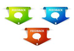 Vector Feedback Arrow  Labels / Stickers - stock illustration