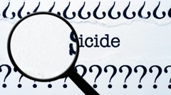 Suicide concept and magnifying glass Stock Footage