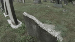Union Cemetery Old Tombstone, Haunted Easton, CT Graveyard Stock Footage
