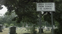 Union Cemetery Closed at Night Sign, Ghost Hunters Paranormal Stock Footage