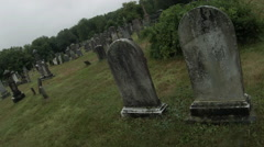 Spooky Tombstones, Union Cemetery haunted graveyard Stock Footage