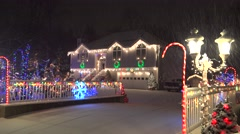 4K Christmas holiday light decorations, snowfall - stock footage