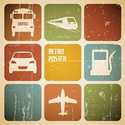 Vector vintage transport (traffic) poster Piirros