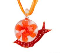 Murano glass necklace in the form of a snail. Stock Photos