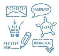 Simple vector contact, feedback, share, buy, download, register stamps - stock illustration