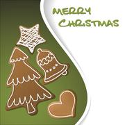 Christmas card - gingerbreads with white icing - stock illustration
