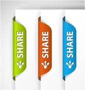 Share Labels / Stickers on the edge of the (web) page Stock Illustration