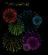 Set of fireworks illustrations - stock photo