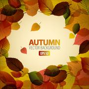 Vector Autumn abstract background with colorful leafs - stock illustration