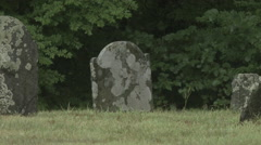 Old Headstones among trees, Union Cemetery Easton, CT Stock Footage