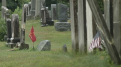 Flags & Gravestones, old cemetery, Memorial Day, Union Cemetery Stock Footage