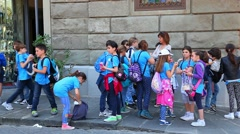 School kids group with the teacher in Florence, Tuscany, Italy Stock Footage