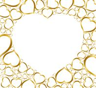 Background with golden hearts - stock illustration