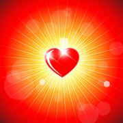 Background with red heart - stock illustration