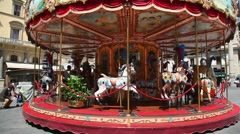 Merry Go Round Carousel in Florence, Italy Stock Footage