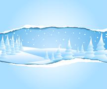 Frosty snowy winter landscape - stock illustration