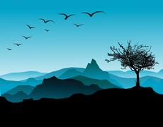 Stock Illustration of Landscape silhouette