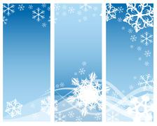 Abstract curves with snowflakes (three parts) Stock Illustration