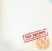 Paper with Top Secret stamps - stock illustration