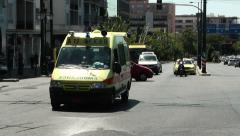 ambulance οn the road moves towards emergency hospital - stock footage