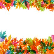 Shiny Autumn Natural Leaves Background. Vector Illustration - stock illustration
