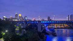 Minneapolis and the Mississippi River Day to Night 4K Stock Footage