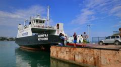 Passengers enter on a passenger ferry. Sevastopol, Crimea. Summer 2015. - stock footage