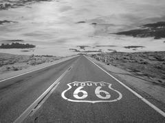 Route 66 Mojave Desert Storm Sky - stock photo
