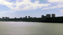 Hudson River Looking Over George Washington Bridge,  New York City , GWB - stock footage