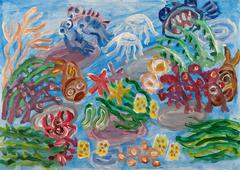 Underwater world abstract painting Piirros