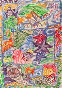 Underwater world abstract painting - stock illustration
