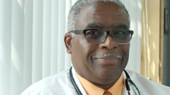Portrait of a black male physician - stock footage