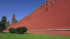 The distinctive red walls and towers of the Kremlin (in 4k), Moscow, Russia. Stock Footage
