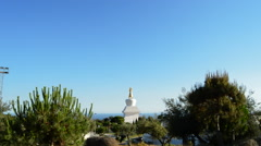 Overview of stupa or temple of Buddhist meditation in Benalmadena Stock Footage