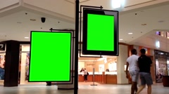 Green billboard for your ad inside Coquitlam Center shopping mall Stock Footage