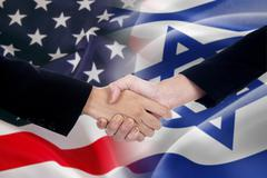 People handshake with the american and israel flags - stock photo