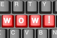 Wow button on modern computer keyboard - stock illustration