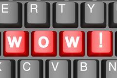 Wow button on modern computer keyboard Stock Illustration