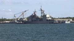 US Naval Vessel Motors into Pearl Harbor   4K Stock Footage