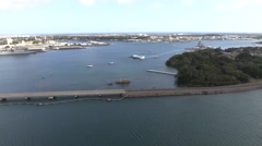 Aerial view of Bridge to Ford Island and Pearl Harbor, Hawaii 4K Stock Footage