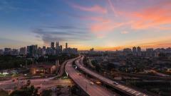 Kuala Lumpur Cityscape Timelapse during Sunset with Pan Effect Stock Footage