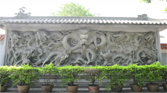 Stone carving of Dragon zooming in Stock Footage
