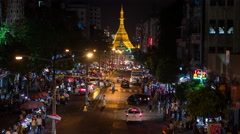 Time Lapse of Street Market at Night with Pagoda  - Yangon Myanmar Stock Footage